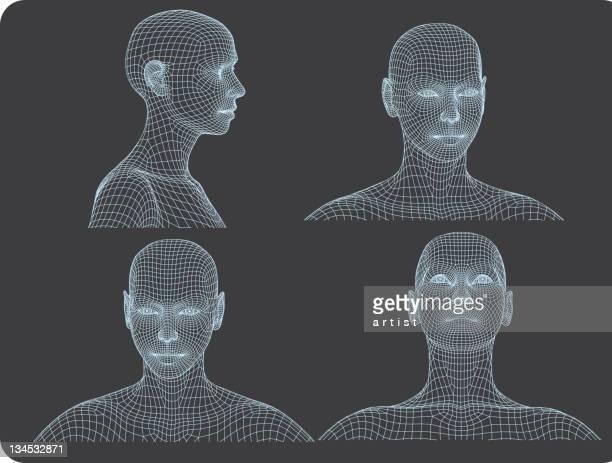 three dimensional woman heads