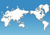 three dimensional world map, vector illustration