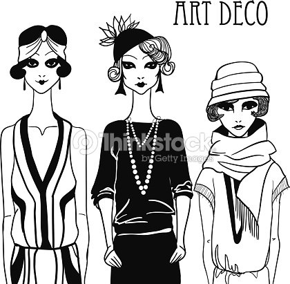 tres garabato mujeres en estilo art dec arte vectorial thinkstock. Black Bedroom Furniture Sets. Home Design Ideas