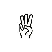 Three fingers up line icon. Palm, arm, hand. Gesturing concept. Can be used for topics like gesturing, promise, scouting.