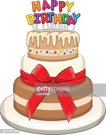 Three Floors Happy Birthday Cake Vector Art Thinkstock
