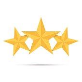 Three gold stars. Award winner. Best reward. Vector illustration.