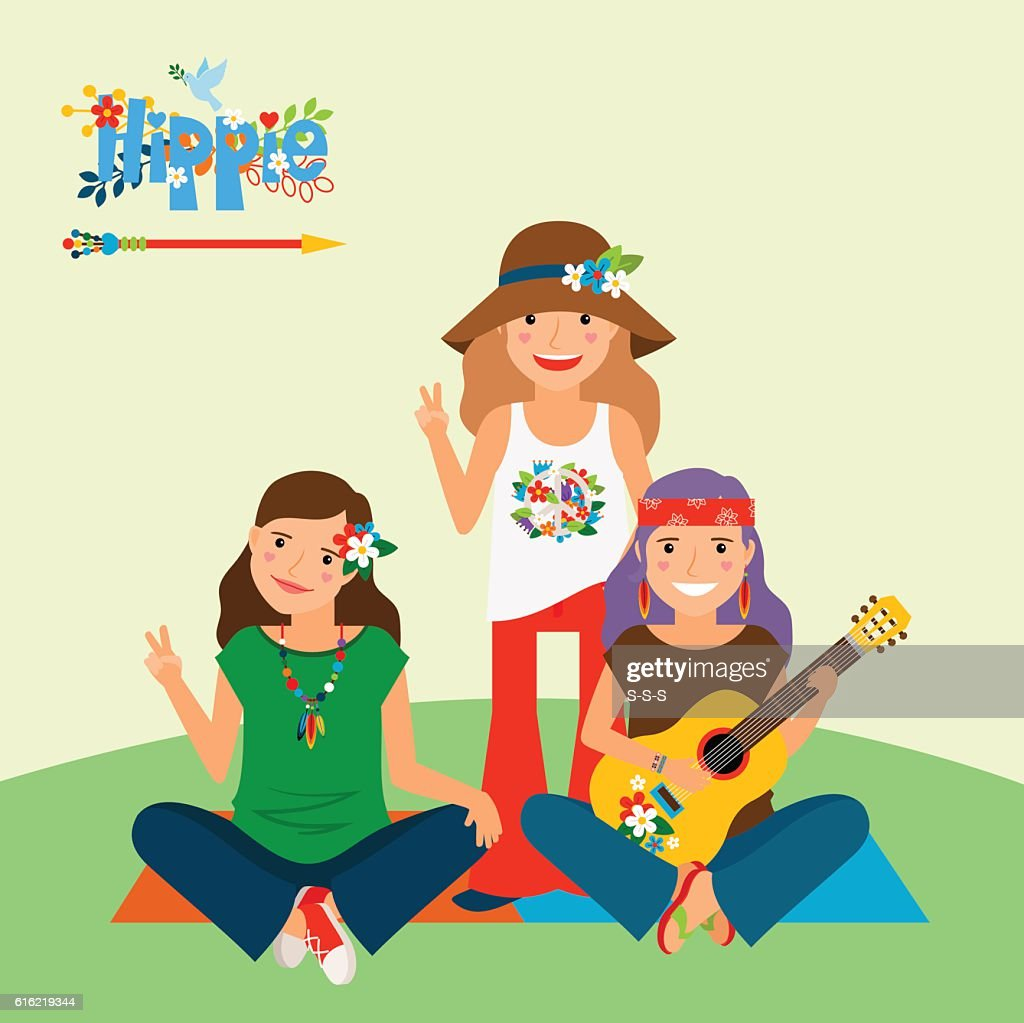Three hippie girls and guitar : Vektorgrafik