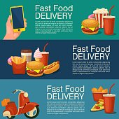 Three horizontal banner for fast food delivery. Cup cola, coffee, donut, ice cream, hamburger, hotdog, fry potato and moped. Flat vector illustration for web. Color background