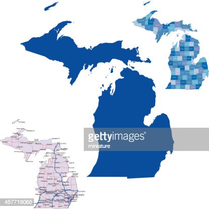 Three Maps Of The State Of Michigan Vector Art Getty Images - Maps of the state