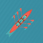 Top view of a canoe on a water. Flat style illustration.