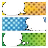 Three horizontal banners template with pop art background. Speech bubbles, comic book style. Isolated, vector, eps 10.