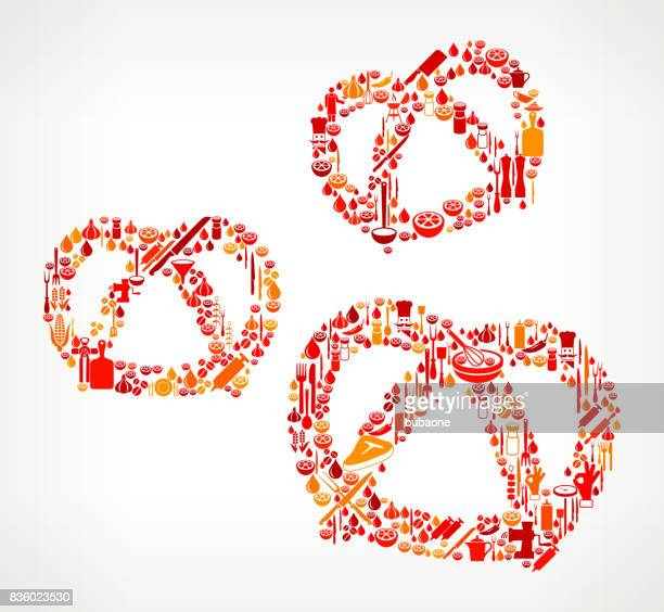 Three Pretzels Cooking and Food Vector Icon Pattern