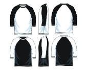 three quarter length sleeve raglan shirts, front look side back, black and white color vector image illustration