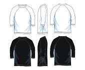 three quarter length sleeve raglan shirt. front look side back, black and white color vector image illustration