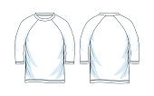 three quarter length sleeve raglan shirts. front look and back, white color vector image design