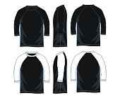 three quarter length sleeve raglan shirts, front look side back, white color vector image illustration