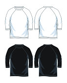 three quarter length sleeve shirts. front look and back  vector image illustration