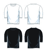 three quarter length sleeve shirt. front look side back, black and white color  vector design
