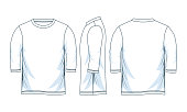 three quarter length sleeve shirts. front look side back, white color vector image illustration.
