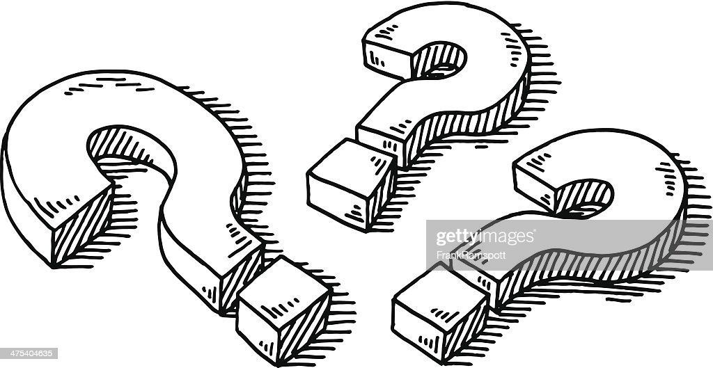 Vector Drawing Lines Questions : Three question marks drawing vector art getty images