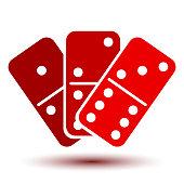 Three red domino, icon – stock vector