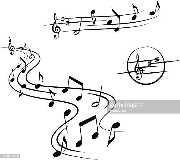 Three sets of musical design elements