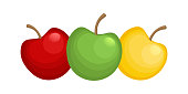 Red, green and yellow fruits. Symbol of healthy food. Vector illustration.