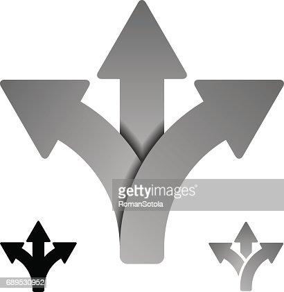 three way direction arrow symbol vector : stock vector
