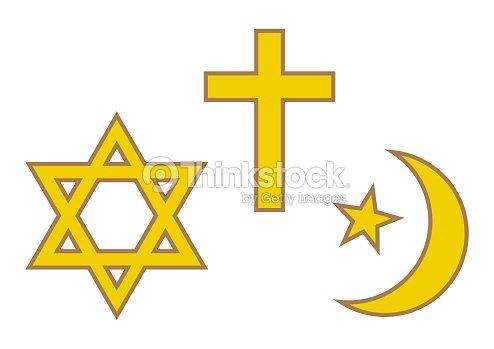 Three World Religions Symbols Judaism Christianity And Islam Vector