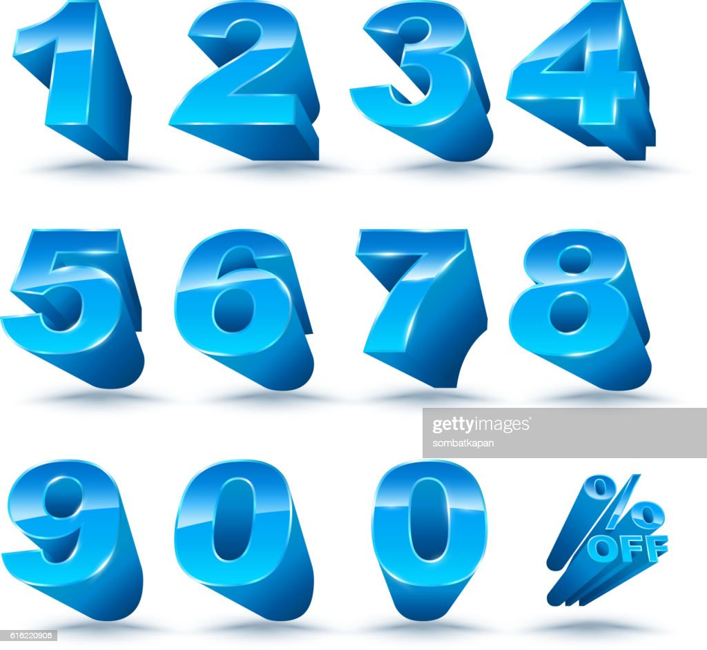 Three-dimensional number set 0-9 with percent off. : Vector Art