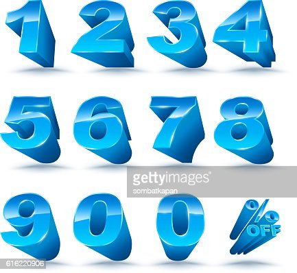 Three-dimensional number set 0-9 with percent off. : Vectorkunst