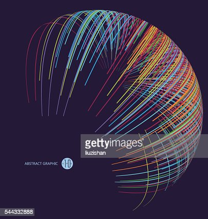 Three-dimensional sphere composed of multicolored curves, abstract graphics. : Vector Art