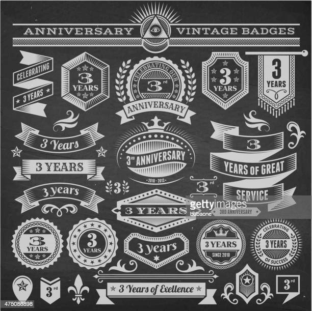 threee year anniversary hand-drawn chalkboard royalty free vector background