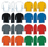 Colorful three-quarter shirt collection. front look side and back, vector image