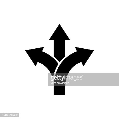 Three-way direction arrow icon Road direction sign : stock vector