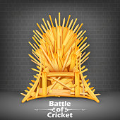 illustration of Throne made of Cricket bats