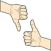 Thumb up and down. I like and dislike. Hand drawn. Vector illustration