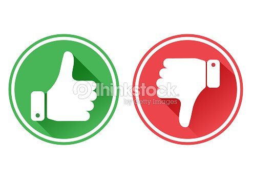 6326e90c4f6 Thumb up and down red and green icons. I like and dislike. Vector  illustration.