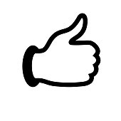 Thumb up black icon on a white background