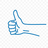 Thumb up vector icon or hand finger up like gesture of sketch line