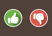 Thumbs up and thumbs down in flat style.