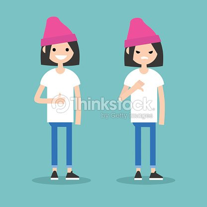 Thumbs up and thumbs down. Yes or No conceptual illustration. Excited girl vs Displeased girl / editable flat vector illustration / editable flat vector illustration