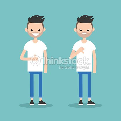 Thumbs up and thumbs down. Yes or No conceptual illustration. Excited man vs Displeased man / editable flat vector illustration / editable flat vector illustration
