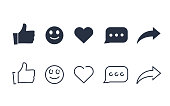 Thumbs up and with repost and comment icons on a white background. Social media icon, empathetic emoji reactions icon set. Network line and solid icons for active web signs heart, share and comment