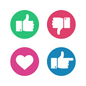 Thumbs up down sign. Point finger and heart icons in red and green circle. Social media love user reaction vector isolated buttons. Like and dislike gesture internet symbols