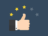 Vector illustration isolated on blue background, thumbs up symbol, three stars