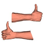Thumbs up gesture low poly illustration with polygonal 3d geometry for creative paper graphic