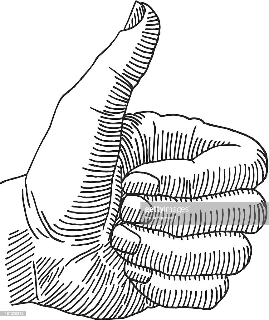 D Line Drawing Of Hand : Thumbs up hand drawing vector art getty images