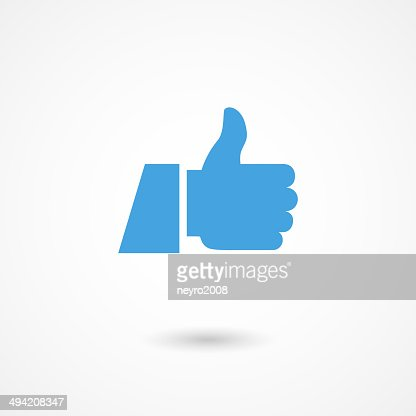 Thumbs up icon in blue on white background : stock vector