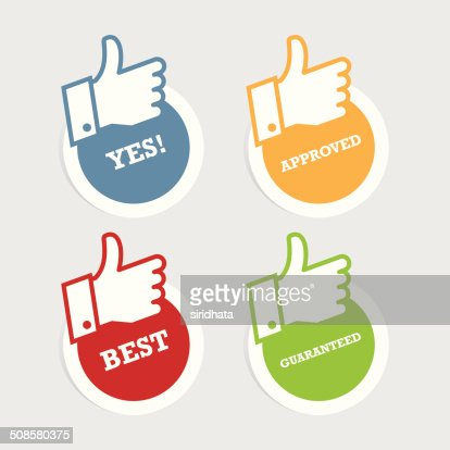 Thumbs Up Paper Stickers : Vector Art