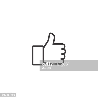 Thumbs up. Vector line icon : stock vector