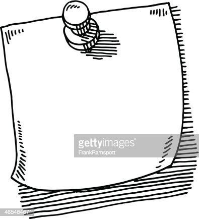 Thumbtack Note Paper Drawing Vector Art   Getty Images