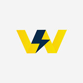 Thunder bolt with Letter W Vector company Symbol. Thunderstorm Vector Illustration Icon concept. Monogram W