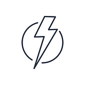 Thunder strike in circle line icon. Electric lightning bolt isolated on white background. Vector illustration in flat style. Weather symbol. Thunderbolt strike sign. Electricity danger attention label